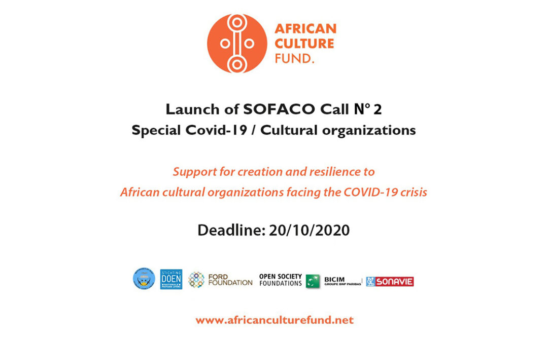 "Launch of SOFACO Call for proposals Batch No 2 ""Special Covid-19 / Cultural organizations"""